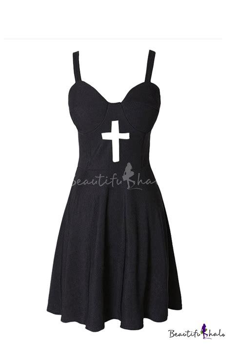 plain bustier dress plain cross cutout fitted zipper bustier dress