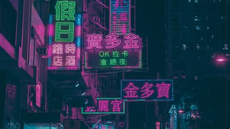 wallpaper  night city signs neon