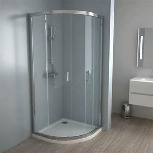 douche cabine de douche quart de rond With porte de douche coulissante avec meuble salle de bain profondeur 40 leroy merlin