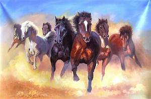 7 Horses Good Luck Painting Painting by Yokami Arts