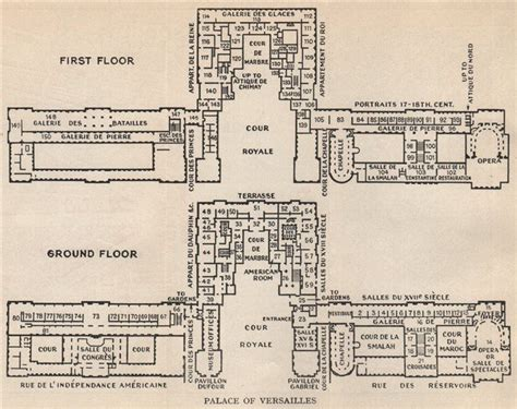 ChÂteau De Versailles Ground & First Floor Plans Vintage