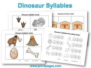 dinosaur theme preschool lesson plans and activities 327 | dinosaur syllable activity