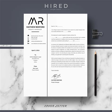 Minimalist Resume Template Word by Resume Templates Hired Design Studio