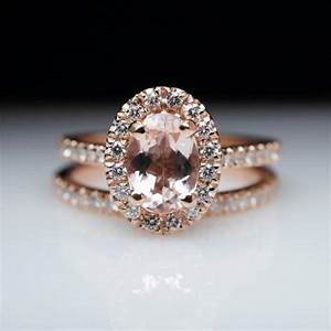 oval morganite engagement ring rose gold engagement ring With custom made wedding ring sets