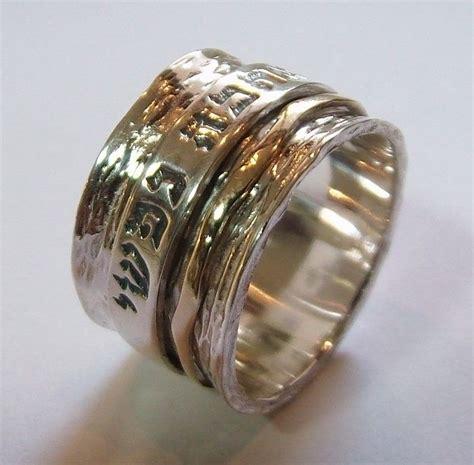 wide jewish wedding ring spinning band hebrew verse