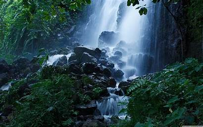 Waterfall Forest Summer Desktop Wallpapers Background 4k