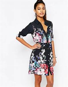 Lipsy lipsy belted shirt dress in dark floral at asos for Robe fleurie asos
