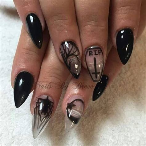 gothic occult stiletto nails rip art negative space
