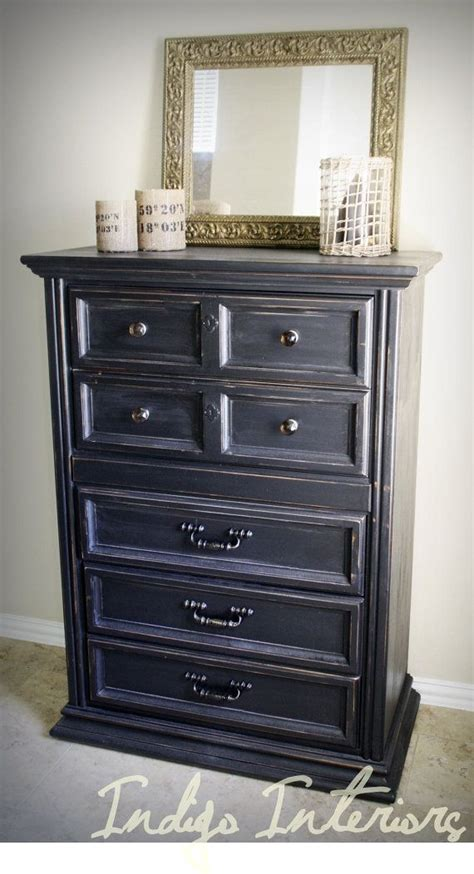 tall black distressed dresser table  indigointeriors