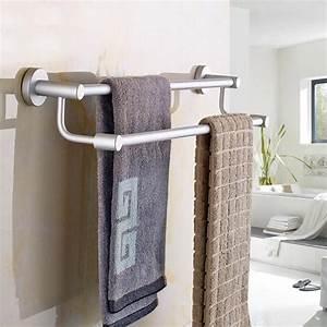 Space, Aluminum, Double, Rods, Sucker, Towel, Rack, Bathroom, Towel, Shelf, Holder, Rotating, Sucker