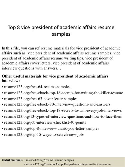 top 8 vice president of academic affairs resume sles