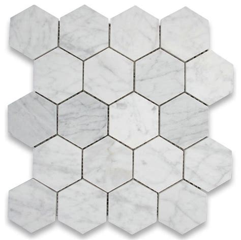 bianco carrara white 3 inch hexagon mosaic tile polished