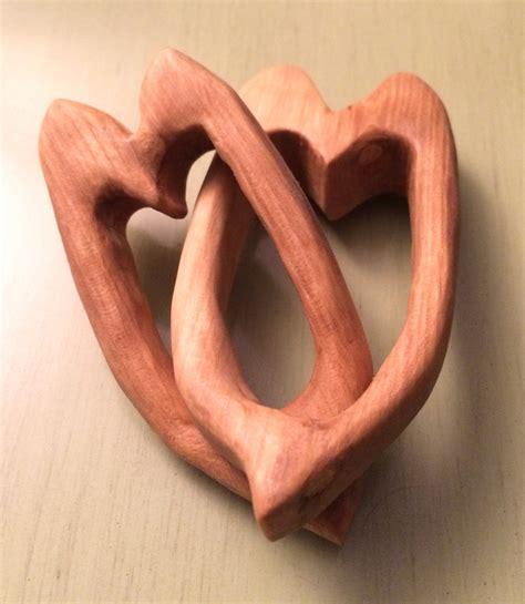 Wooden Interlocking Hearts Brim Studio