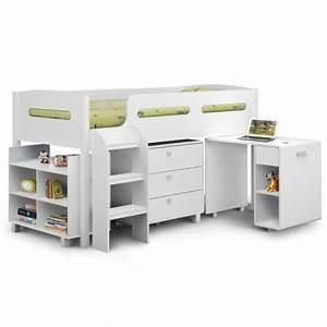 Coconut Ice Kids Single Loft Bed with Desk in White | Buy ...
