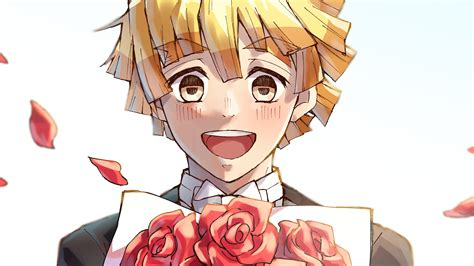 Desktop anime demon slayer zenitsu agatsuma. Demon Slayer Zenitsu Agatsuma Laughing Having Red Roses With White Background HD Anime ...