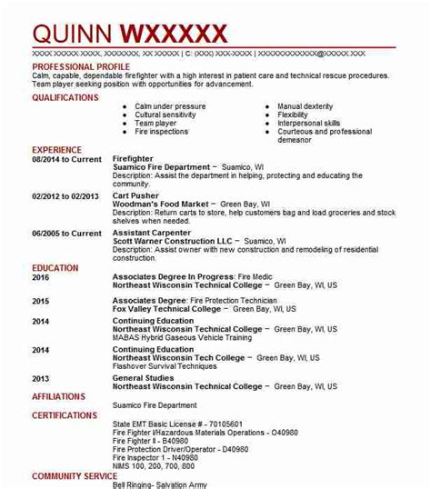 Firefighter Resume Skills by Firefighters Resume Exles Enforcement And