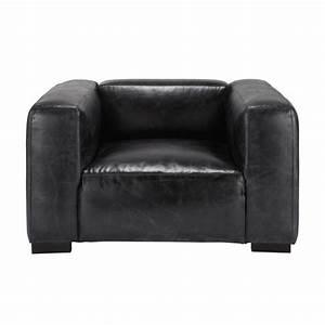 fauteuil en cuir noir With tapis de course avec canape cuir noir maison du monde