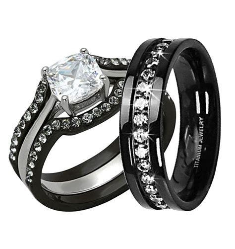 his hers 4 pc black stainless steel titanium wedding