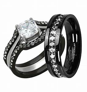 his hers 4 pc black stainless steel titanium wedding With black wedding ring band