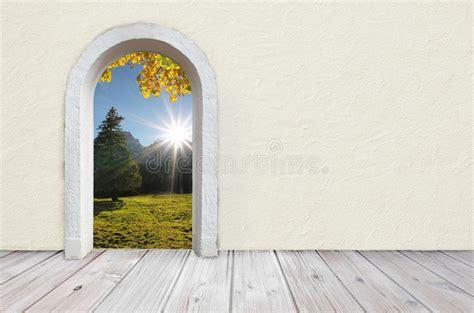 view  nature   empty room  arched door stock