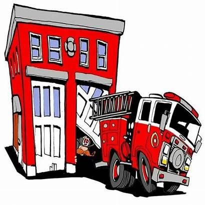 Fire Cartoon Station Clipart Truck Department Clip