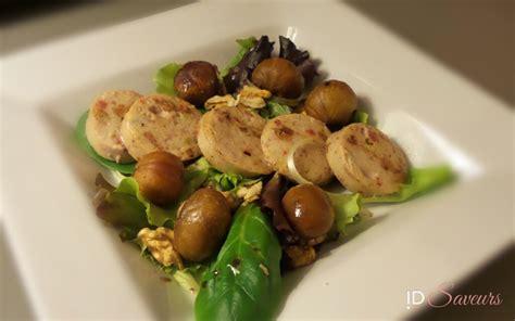 comment cuisiner du boudin blanc salade de boudin blanc aux châtaignes id saveurs