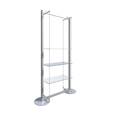Freestanding Display With 3 Glass Shelves Freestanding