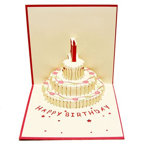 Birthday Cake Candle Design Greeting Card 3D Handcrafted