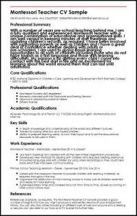resume template for montessori montessori cv sle myperfectcv