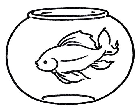 goldfish clipart black and white free clipart goldfish in bowl line the graphics