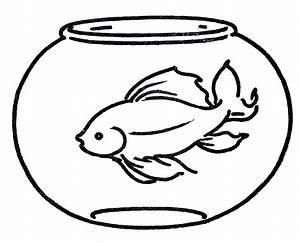 Free Clipart Goldfish in Bowl - Line Art - The Graphics Fairy