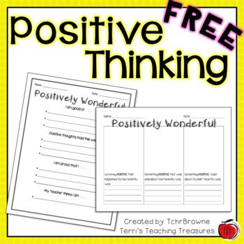 Self Esteem Positive Thinking Worksheets By Tchrbrowne Tpt