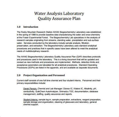 quality assurance plan template business
