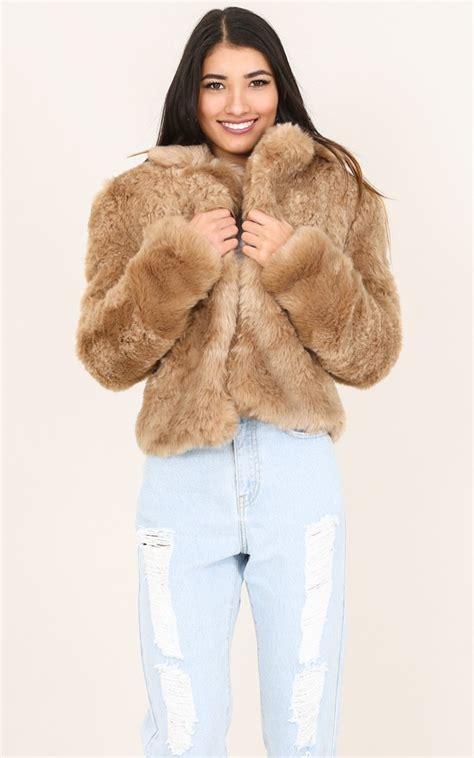 harlow faux fur coat beige showpo