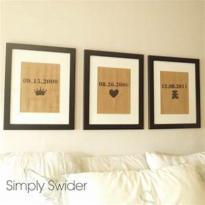 burlap art in bedroom - love the dates and symbols for ...