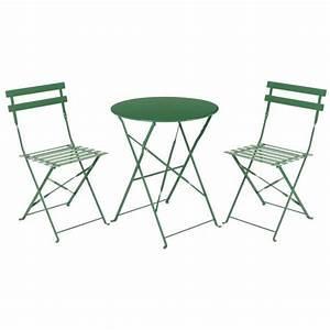 Ensemble Table Bistro Metal Vert Achat Vente Salon De