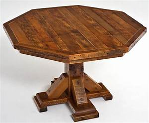 wooden octagon dining table round wood dinette custom With chairs for barnwood table
