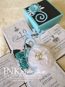 teal and black exploding box 18th birthday inkpressive With wedding invitation po box