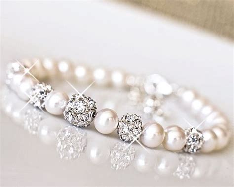 Wedding Jewelry Ideas : Freshwater Pearl, Rhinestone Wedding Bracelet. Bridal