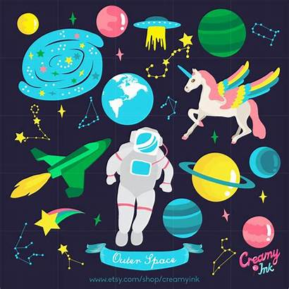 Space Outer Clipart Clip Planets Astronaut Vector