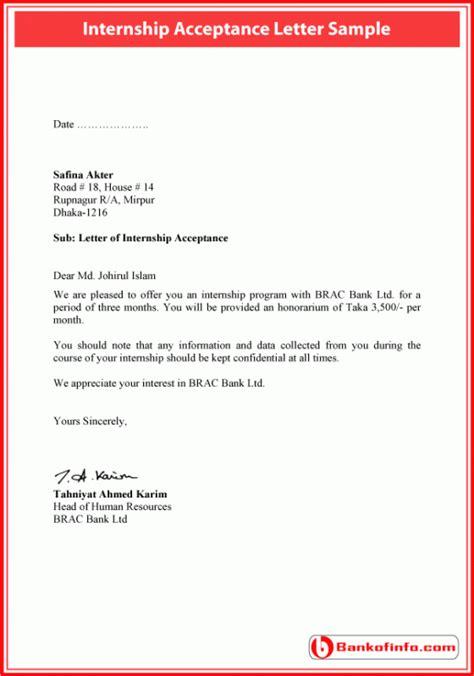 internship acceptance letter sample letter acceptance