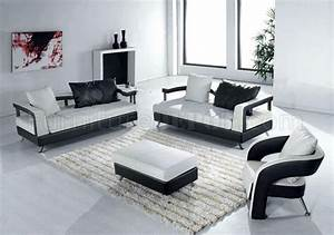 Black and white leather ultra modern 4pc living room set for Stylish pictures of furniture