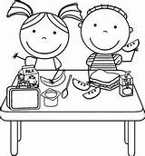 Lunch Coloring Cantine Scolaire Coloriage sketch template
