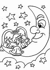 Coloring Moon Pages Printable Angel sketch template