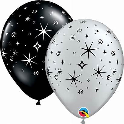 Balloons Latex Qualatex Sparkles Helium Transparent Swirls