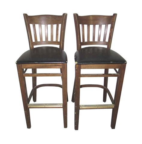 Wooden Bar Chairs With Backs by Wooden Bar Stools With Slatted Backs Olde Things