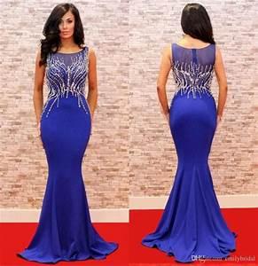 Elegant Mermaid Style Blue Evening Dresses Long Crystal ...