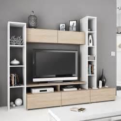 Meuble Tv Blanc Avec Rangement Mobilier Design