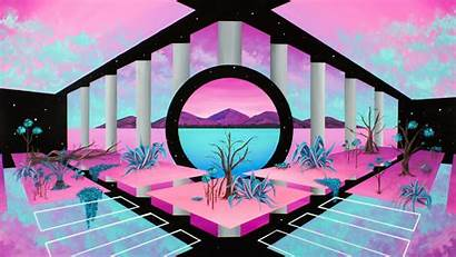 Vaporwave Retrowave Abstract Pink Monitor Wallpapers Dual