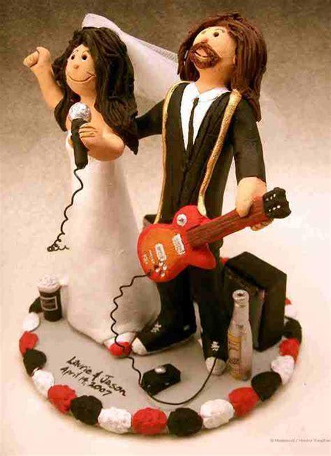 custom wedding cake toppers: Rock Star's Wedding Cake Topper